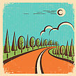 Vintage Nature Landscape With Road On Old Paper.Vector Color Poster