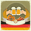 Vintage Oktoberfest Background With Hands And Beers.Vector Illustration On Old Paper For Text