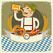 Vintage Oktoberfest Posterl Label With Man And Beer.Vector Illustration On Old Paper For Text