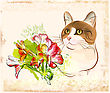 Vintage Portrait Of Cat With Flowers stock vector