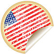 Manufacturing Vintage Sticker With U.S.A Flag stock illustration