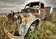 Vintage Truck Abandoned Saskatchewan Field Canada stock photography