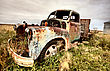 Neglected Vintage Truck Abandoned Saskatchewan Field Canada stock photo