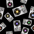 Vinyl Record Players Seamless Pattern On Black Background