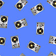 Vinyl Record Players Seamless Pattern On Blue Background