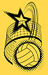 Volleyball Super Star Design Badge Or Logo. Vector Illustration With Halftone Effect