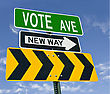 Vote Ave New Way Direction Road Sign stock photo