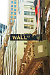 Wall Street Sign In New York City stock photo