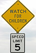 Obey Watch for Children Sign stock photography