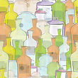 Water Color Bottles Seamless Background