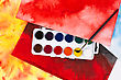 Water Color Paints, Paintbrush And Abstract Drawings stock image