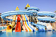 Adrenalin Water Slides At The Water Aquapark. Water Park For Kids At Sun Light stock photo