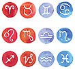 Watercolor. Horoscope Zodiac Star Signs, Vector Set