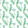 Watercolor Painted Floral Seamless Pattern. Green Branches And Leaves. Vecctor Illustration