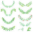 Watercolor Painted Laurels Set. Floral Wreaths And Plants
