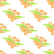 Watercolor Painted Peach Floral Seamless Pattern. Green Branches And Leaves. Vector Illustration