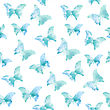 Watercolor Seamless Pattern With Blue Butterflies, Vector Format