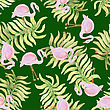 Watercolor Seamless Pattern With Flamingo Bird. Vector Illustration
