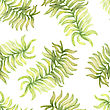 Watercolor Seamless Pattern With Palm Tree Leaf. Vector Illustration For Design Of Gift Packs, Wrap, Patterns Fabric, Wallpaper, Web Sites And Other