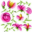 Watercolor Vector Floral Elements Suitable For Wedding Invitation Or Greeting Card