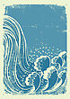 Waterfall.Vector Grunge Blue Water Waves On Old Paper Background stock illustration