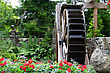 Waterwheel In A Spring Time Flower Garden stock photo