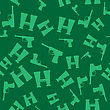 Weapon Random Seamless Pattern On Green Background. Military Texture With Silhouettes Of A Pistols And Binoculars