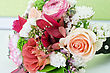 Wedding Bunch Of Flowers At White Table stock photography