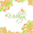 Wedding Card With Peach Peonies And Cute Bird. Watercolor Painted Vector Card