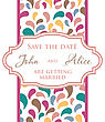 Wedding Invitation Card Design With Multicolored Drops And Floral Elements