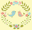 Wedding Invitation Or Greeting Card Design With Cute Floral Wreath And Birds Couple