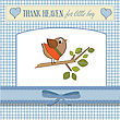Welcome Baby Card With Funny Little Bird, Vector