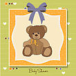 Welcome Baby Card With Teddy Bear stock illustration