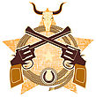 WEstern Symbol With Guns And Cowboy Elements.Vector Illustration