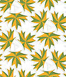 White 3D With Colors Green And Yellow Maple Leaves.Abstract Geometrical Background. Pattern With Cut Out Paper Effect And Realistic Shadows stock vector