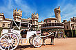 White Carriot Near The Bangalore King Palace stock image