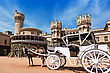 White Carriot Near The Bangalore King Palace stock photography