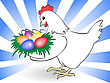 White Chicken Keeps A Nest With Colored Eggs stock illustration