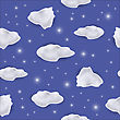 White Cloud Seamless Pattern On Stars Blue Background