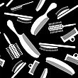 White Plastic Combs Seamless Pattern On Black. Barber Supplies Background