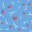 White Tower And Red Heart Seamless Pattern On Blue Background