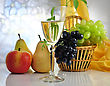White Wine And Fruits stock photo