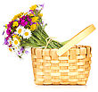 Floral Wicker Basket With A Bouquet Of Wildflowers. Isolated On White Background stock photo