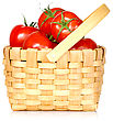Wicker Basket Full Of Tomatoes, Isolated On White Background stock image