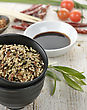 Wild Rice And A Soy Sauce In The Bowls stock photo