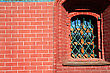 Stone and Rock Window In Brick House stock photography