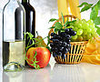 Wine And Fresh Fruits stock photography