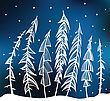 Winter Background. Night Forest. Hand Drawn Vector Illustration