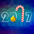 Winter Christmas Blue Polygonal Background With Candy Cane And Yellow Glass Ball