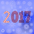Winter Christmas Blue Snow Flake Background With Candy Cane